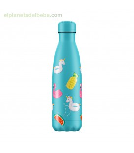 BOTELLA INOX POOL PARTY AZUL 500ML CHILLY