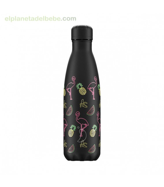 BOTELLA INOX POOL PARTY NEGRA 500ML CHILLY