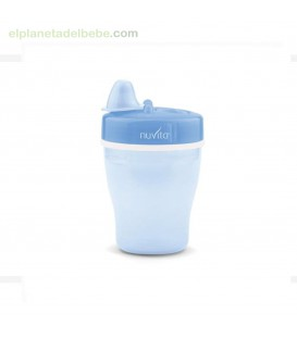 VASO DOBLE PARED CON BOQUILLA RIGIDA 200ML AZUL NUVITA