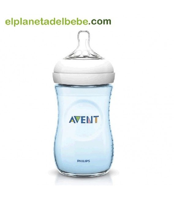Biberón natural azul 260 ml Avent