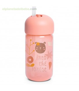 BOTELLA PAJITA +18M 340ML FOREST ROSA SUAVINEX