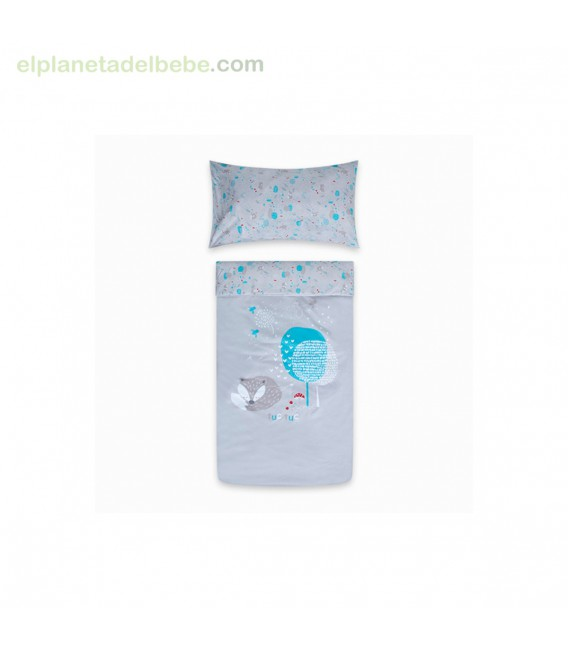 EDREDON + PROTECTOR CUNA 120X60 LITTLE FOREST GRIS TUC TUC