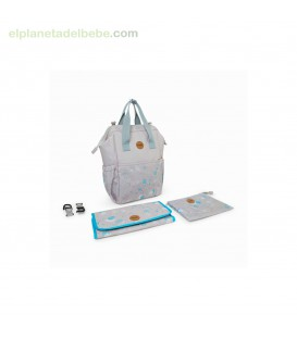 MOCHILA MATERNAL + CAMBIADOR + NECESER LITTLE FOREST GRIS TUC TUC