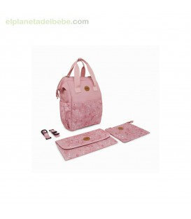 MOCHILA MATERNAL + CAMBIADOR + NECESER LITTLE FOREST ROSA TUC TUC