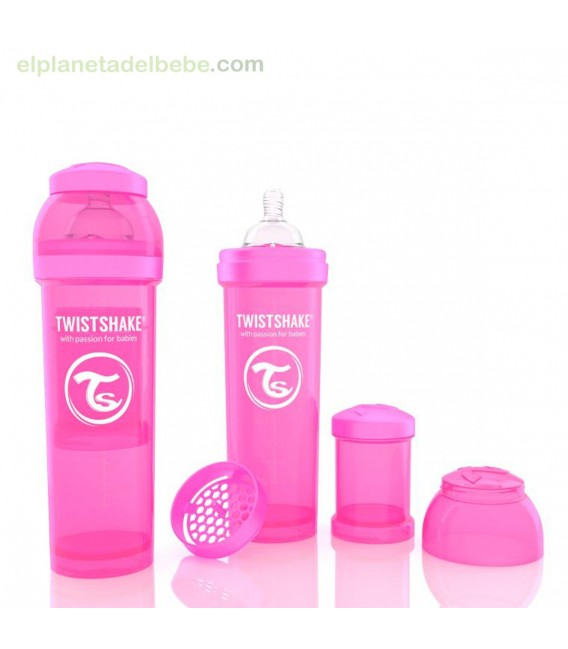 BIBERON ANTICOLICO ROSA 330 ML TWISTSHAKE