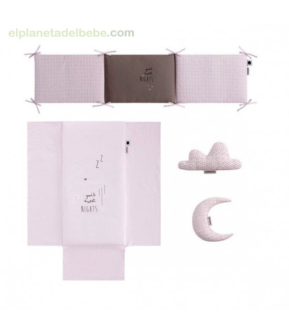 COLCHA REVERSIBLE + PROTECTOR SWEET NIGHT ROSA BIMBIDREAMS
