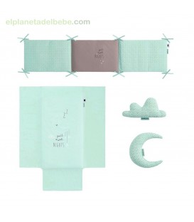 COLCHA REVERSIBLE + PROTECTOR SWEET NIGHT MENTA BIMBIDREAMS